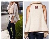 SALE Vanilla Faux Fur Vest  - Tan Monogrammed Faux Fur Vest  - Women's Vest - Ladies Monogrammed Vest - Monogram Faux Fur Shearling Vest