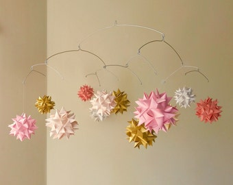 Paper Star Sphere Mobile 'Andromeda' Coral, Pink, Gold
