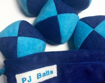 115g - 5 JUGGLING BALLS With Bag - Dark Blue and Light Blue PJ Beanbags