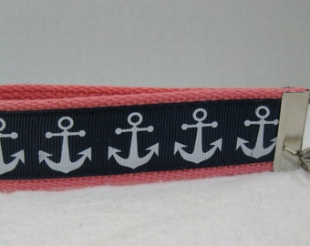 Key Fob Anchors - Nautical Key Chain - CORAL with Anchors - Navy and Aqua - Wrist Key Ring