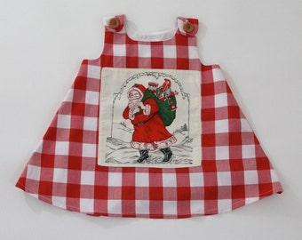 Gingham Santa Claus  Girls' Christmas Dress, Newborn, Baby, Toddler Girls' Dress  - Size Newborn to Girls 4T - Holiday Dress, Tea with Santa