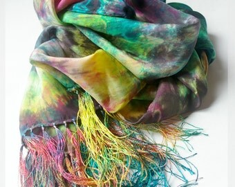 """CUSTOM Dyed Silk Scarf: Hand Dyed Silk with Fringe (14 x 72"""") You Choose Colours"""