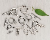 9 Sterling Silver Toggle Clasps - small to medium round flower bali clasp set lot -  8 12 15 mm rings