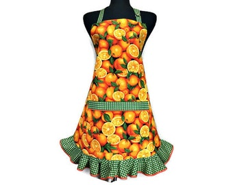 Oranges Retro Kitchen apron for women, Citrus Fruit Kitchen decor, Retro Style green polka dot Ruffle, Adjustable with Pocket