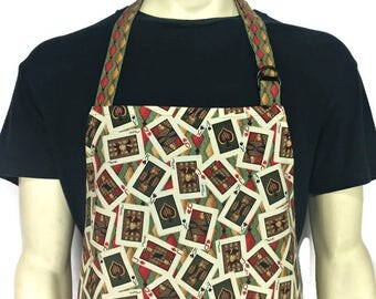 Playing Cards Apron , Poker Player , Professional Chef Apron , Casino Kitchen Decor , Gambler , Ace of Spades