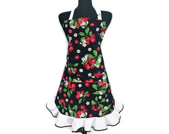 Retro Cherry Apron for women , Red Cherries on Black with red and white polka dot Ruffle , Rockabilly Kitchen Decor / Pin Up Girl Style