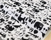 Japanese Fabric animals - black, white - 50cm