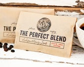 Coffee Wedding Favor Bag - The Perfect Blend Stamp Design - Printed Whole Bean Bag - Wedding, anniversary, engagement party favors - 20 Bags