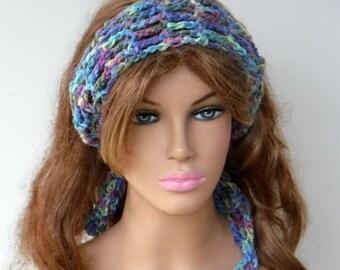 Water colors Dread headband dreadband head hair band wrap scarf hippie bandana, Bohemian Monet head scarf, crochet head band, tie hair band