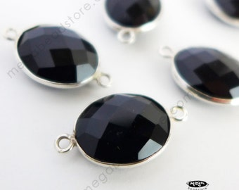 15mm x 12mm Oval Black Onyx Stone Sterling Silver Bezel Pendant Connector F393S- 1 pc