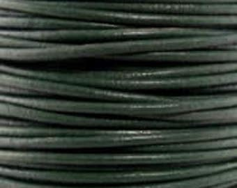 "2mm Round Dark Green Leather Lace Cord - 2mm 3/32"" Diameter Forest Hunter Craft Jewelry Bracelet Wrap Necklace - I ship Internationally"