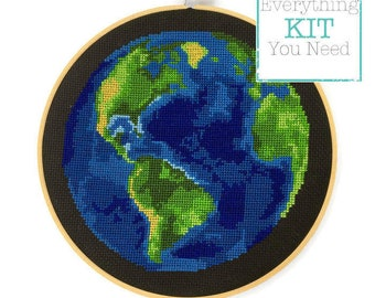 Earth Cross Stitch Kit DIY - Everything You Need - Needlepoint Kit - 8 Inches