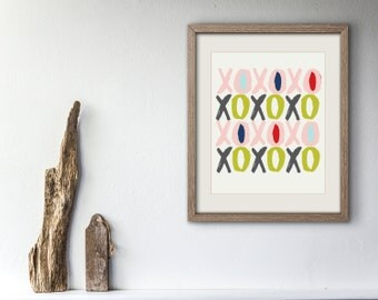 XOXO Printable Instant Download, Art Print,  colors,  Modern 8.5x11  43x43 square home decor gift pattern children nursery love