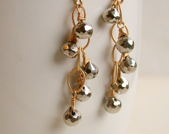 FREE Shipping.  Pyrite Cascade Dangle Earrings. Wire wrapped Pyrite Earrings.  Artisan. Pyrite. Jewelry.
