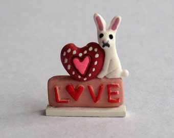 Handmade Miniature Valentine Some Bunny Loves You by C. Rohal