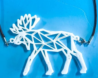 Moose with Antlers 3d Printed Necklace - Plastic Jewelry - ABS - artistic necklace - 3d printed Jewelry