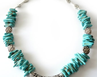 Turquoise Howlite Necklace, Silver Necklace, Choker Necklace, Scrollwork Tubular Bead, Beaded Jewelry, Beaded Necklace, Southwestern, OOAK