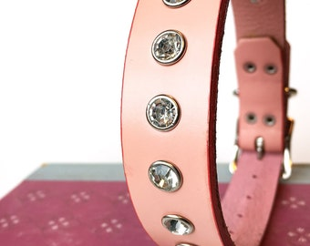 Pale Pink Leather Dog Collar With Rhinestones, Size S/M to fit a 13-16in Neck, Medium Dog, Eco Friendly Leather, Glam Girl, Feminine, OOAK