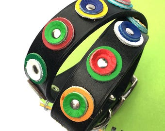 Black Leather Dog Collar with Colorful Leather Circles, Size L to fit a 18-21in Neck, Large Dog, Eco-Friendly, Seattle Handmade, OOAK