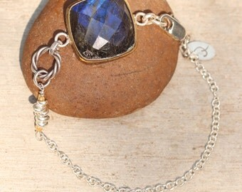 Square faceted labradorite bracelet in brass bezel setting and silver beads with oxidized sterling silver double chain