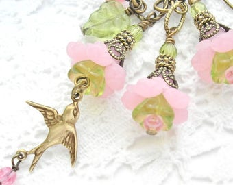 Garden Party Pink Flower Pendant and Earrings - Antiqued Brass Pendant and Earrings