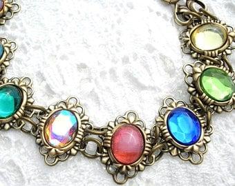 Rainbow Glass Jewel Antiqued Brass Bracelet