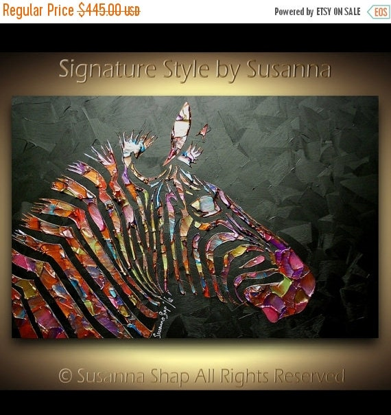 ORIGINAL zebra painting abstract art textured modern animals acrylic palette knife black multi color impasto canvas by susanna
