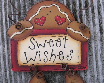 Sweet Wishes Gingerbread Wynter Thyme Sign Ornament Cyndi Combs design