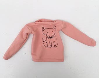 sweater soft pink with fox print