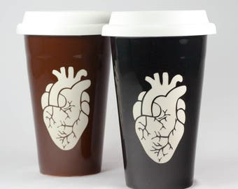 Anatomical Heart Travel Mug - insulated lidded coffee cup