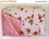 HOLIDAY SALE - Vintage Duvet Cover - Pink Roses - Cottage Chic - Full or Queen Size