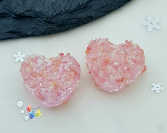 Lampwork Beads Rose Confetti Blossom Love Heart Pair