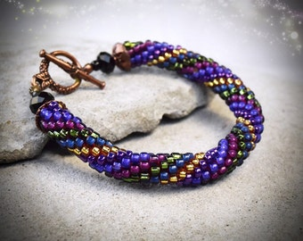 Purple Bracelet - crocheted bracelet - everyday bracelet - seed bead bracelet - coachella bracelet - gypsy chic bracelet - gift under 30