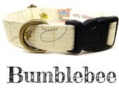 "Light Yellow Gray Buzzing Bees Bumblebee Dog Collar - Girl Dog Collar - Organic Cotton - Antique Brass Hardware - ""Bumblebee"""