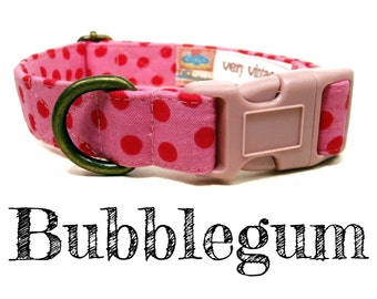"Light Pink Dark Pink Dotted Vintage Polka Dot Dog Collar -  Organic Cotton - Antique Brass Hardware - ""Bubblegum"""