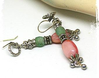 Long bohemian earrings for women, Boho dangle earrings, Long gemstone dangle earrings for women, Pink opal earring rhinestone, African glass