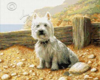 Westie at the beach counted cross stitch kit
