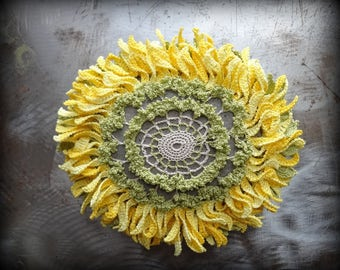 Large, Floral, Sunflower Stone, Bloom, Crocheted Lace, Original, Handmade, Home Decor, Yellow, Green, Ecru, Monicaj