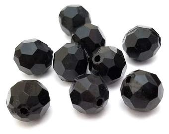 30 Black Faceted Beads 12mm Acrylic Round (H2449)