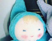Reserved for Ricci, Dont Buy this blue doll germandolls, Waldorf pocket doll, gnome baby, Elf on shelf