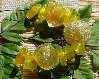 Lampwork SRA Handmade Glass Beads by Catalinaglass Sunshine Yellow