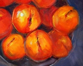 Peaches, Still Life, Oil Painting, Original Small, 8x8 Canvas, Kitchen Wall Decor, Square Format, Fruit Food Art, Orange, Blue, Bowl