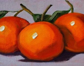Tangerines, Still Life, Oil Painting, Original Small, 5x7 Canvas, Orange Citrus, Tropical Fruit, Kitchen Wall Decor, Food Art
