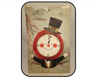 "Vintage Hallmark 3D Paper Centerpiece ""Clock"" Father Time, New Years Eve Party decoration, 70s, Tuxedo, top hat"