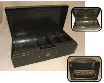 Vintage Dark Green Metal Cash Box by Arco, Art Steel of New York, storage container