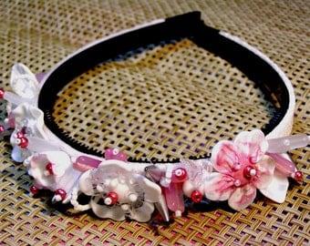 Handmade lampwork beads wedding bridal tiara/headband -white pink