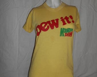 Vintage 70s   tee tshirt t shirt  DEW it!  Mountain Dew   yellow