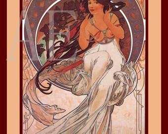 PR-263 Artistic Ephemera Print ~ One 8x10 or Two 5x7s ~ Alphonse Mucha - Art Nouveau 'Music'