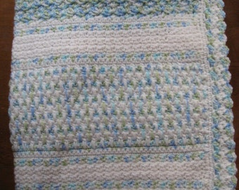 White and Blue Green White Variegated Hand Crocheted Baby Afghan Blanket