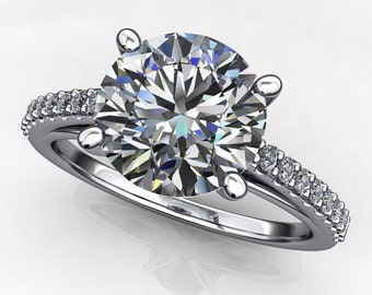 mia ring - 2 carat diamond cut round NEO moissanite engagement ring